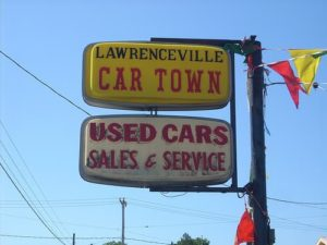 used car lot sign