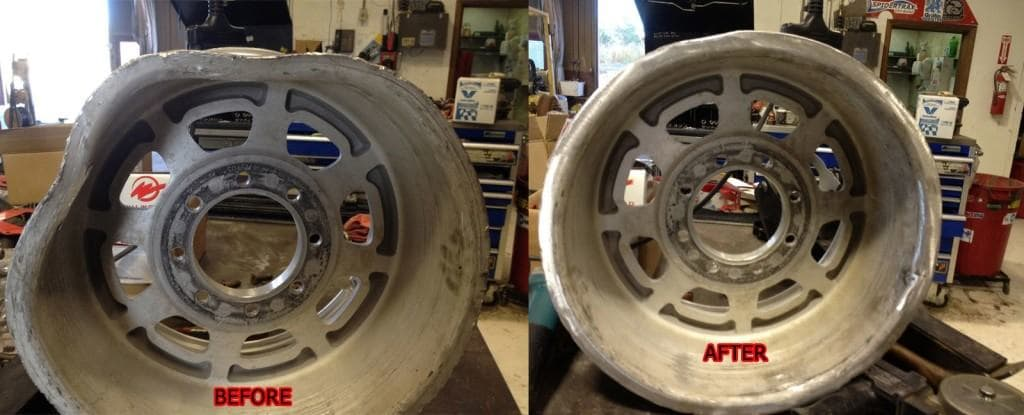 TR Beadlock Wheel - Before and After Race Damage Repair