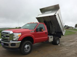 Ford 350 Superduty Aluminum Dump Body Lifted Up