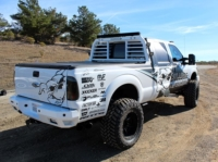 white truck with lift kit